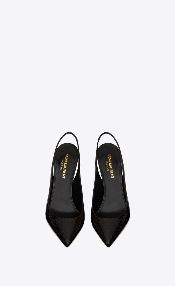zapatos de salón slingback opyum de charol repujado de cocodrilo con tacón negro