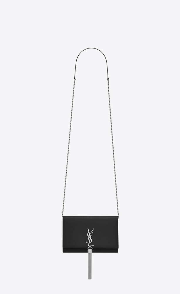 kate chain wallet with tassel in smooth leather