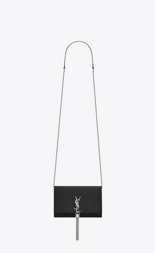 부드러운 블랙 가죽 소재의 케이트 체인 및 태슬 지갑