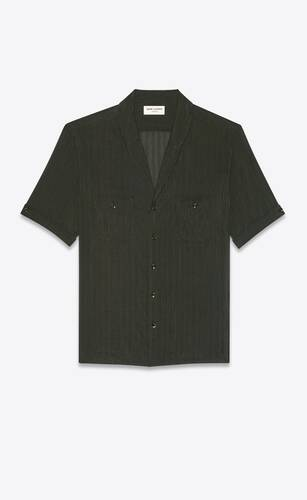 shawl-collar shirt in striped cotton and silk