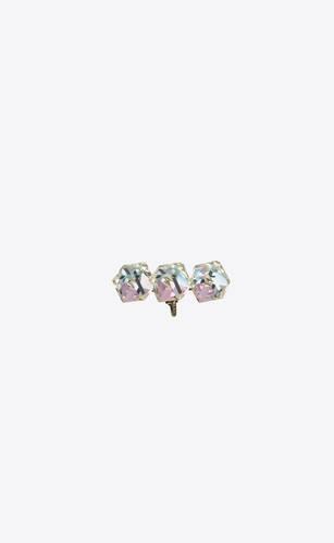 smoking triple-crystal cube clip-on ear jewel in metal