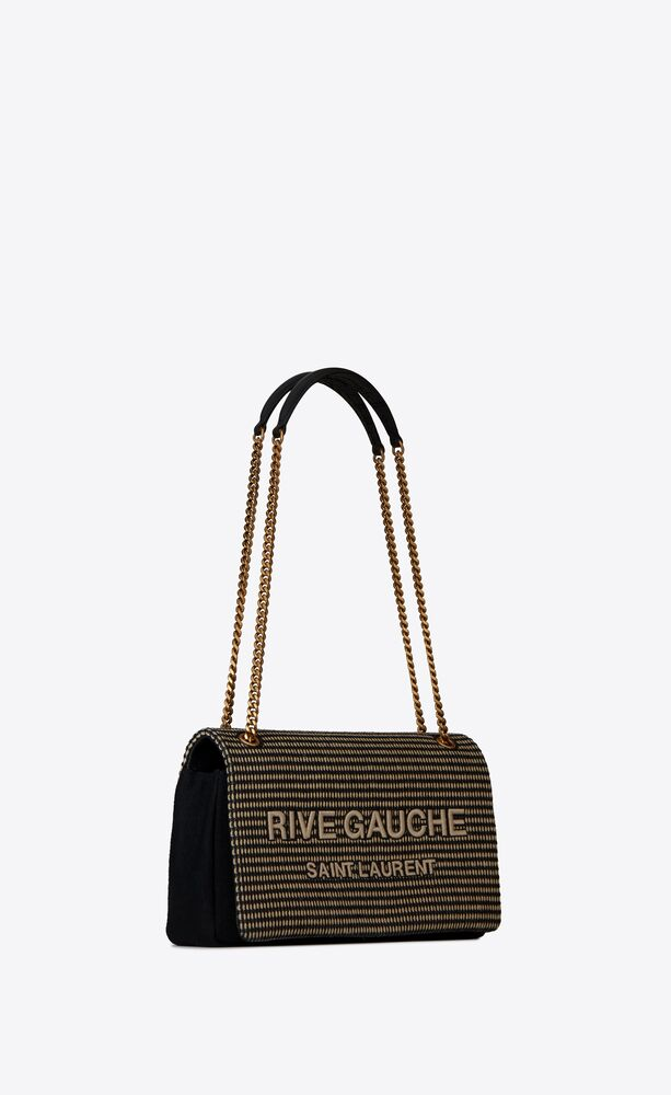 rive gauche chain bag in embroidered cotton