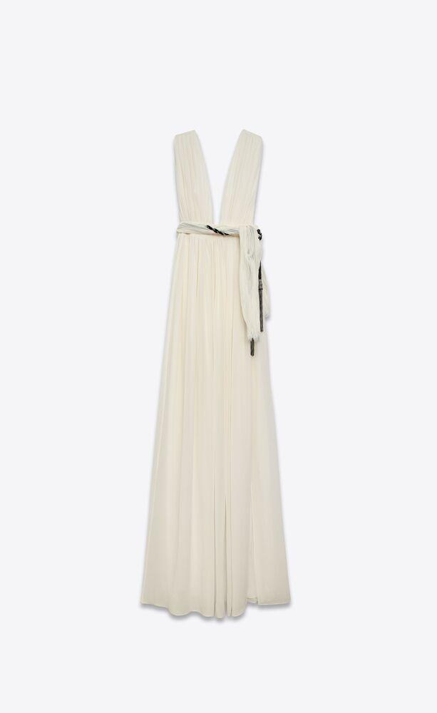 langes drapiertes kleid aus seidengeorgette