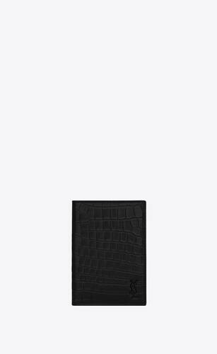 tiny monogram passport case in crocodile-embossed leather