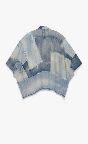 denim patchwork cape in 70's blue trash indigo