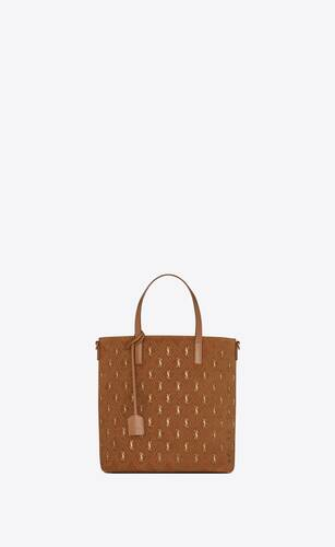 monogram saint laurent n/s shopping bag en suède