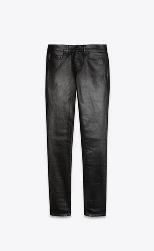 jean skinny en denim stretch noir enduit