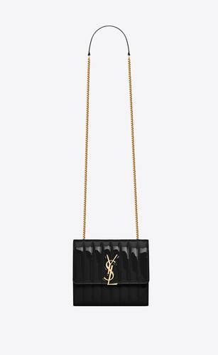 vicky chain wallet in quilted patent leather