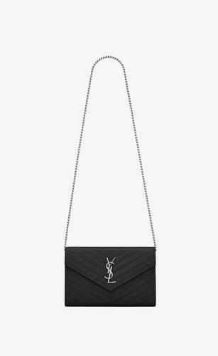 블랙 그랑 드 뿌드르 텍스처드 마틀라세 가죽 소재의 모노그램 생 로랑 체인 지갑