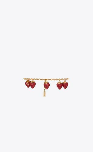 strawberry charm bracelet in metal and enamel