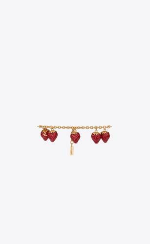 armband mit erdbeer-anhänger aus metall und emaille