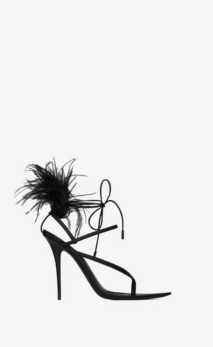 nue sandals in smooth leather and feathers