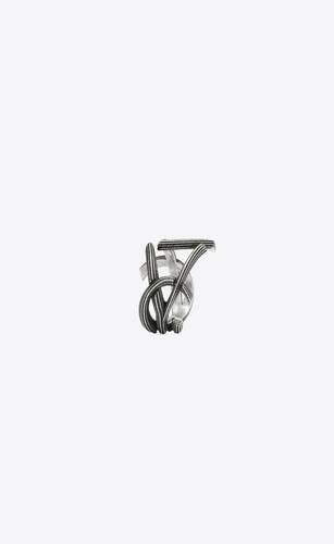 monogram ring in striated metal