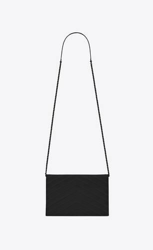 envelope chain wallet in grain de poudre embossed leather