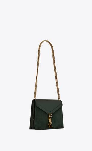 cassandra monogram clasp bag in box saint laurent leather and suede