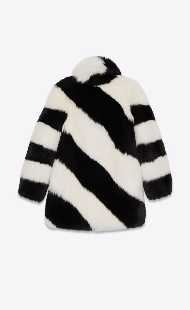 coat in striped fox