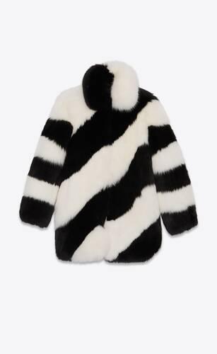 coat in striped fox