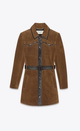 western-style coat dress in vintage suede and leather