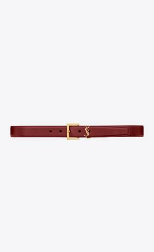 monogram belt with square buckle in lacquered leather