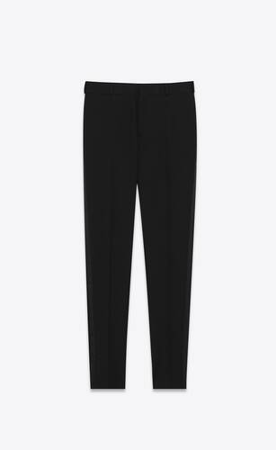pantalon smoking droit en grain de poudre saint laurent