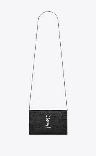 uptown chain wallet in crocodile-embossed shiny leather