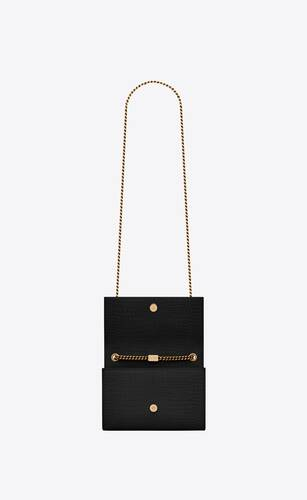 kate small with tassel in crocodile-embossed shiny leather
