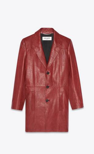 chesterfield coat in vintage drummed leather