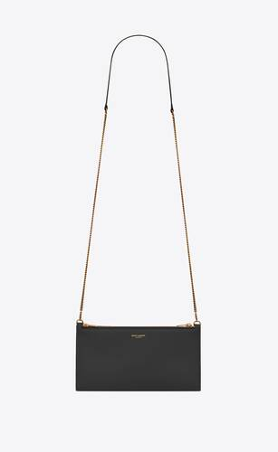 saint laurent paris double pouch on chain in shiny leather
