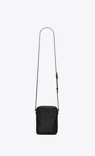sid pouch in crocodile-embossed matte leather