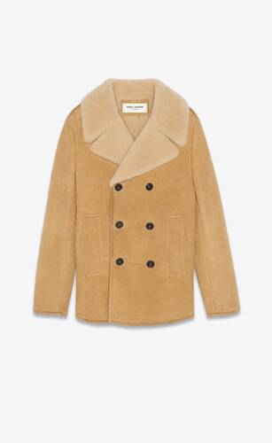 double-breasted pea coat in cracked suede and shearling