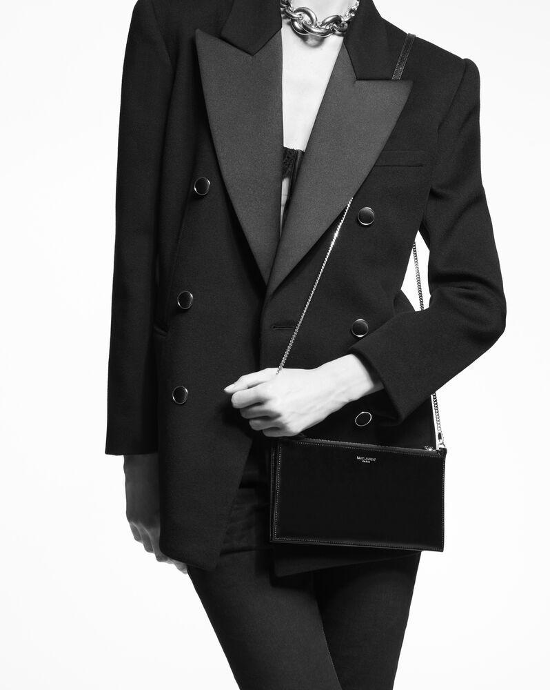 saint laurent paris double pouch on chain in shiny leather