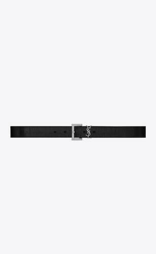 cinturón monograma con hebilla cuadrada de piel craquelada