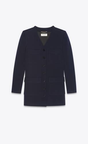 long jacket in wool jersey