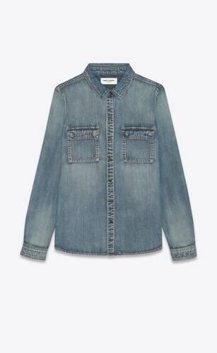 classic western shirt in dirty medium vintage blue denim