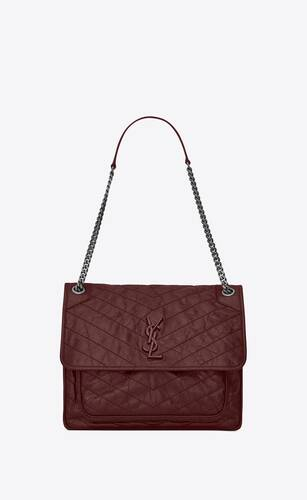 large niki chain bag in crinkled and quilted leather