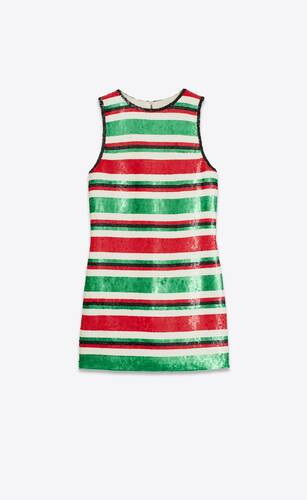sequin-embroidered striped dress in silk georgette