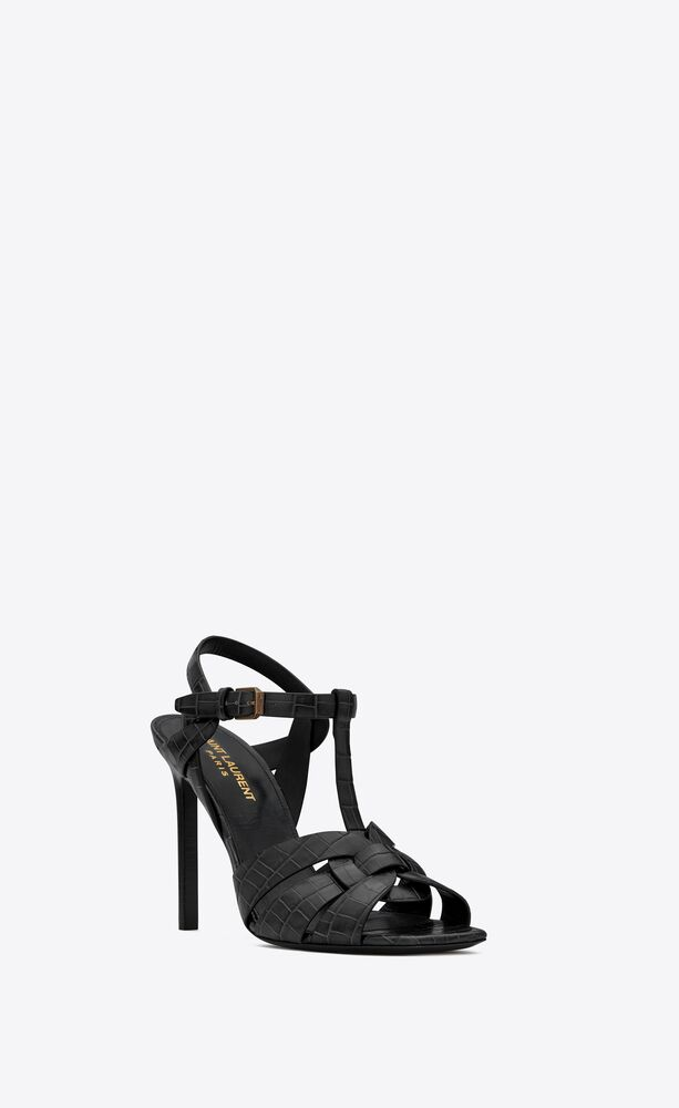 tribute sandals in crocodile-embossed shiny leather