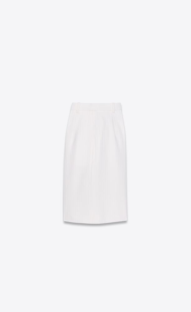 tailored bermuda shorts in chainette striped wool