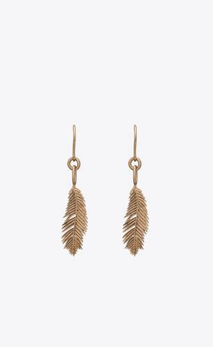 palm leaf drop earrings in metal