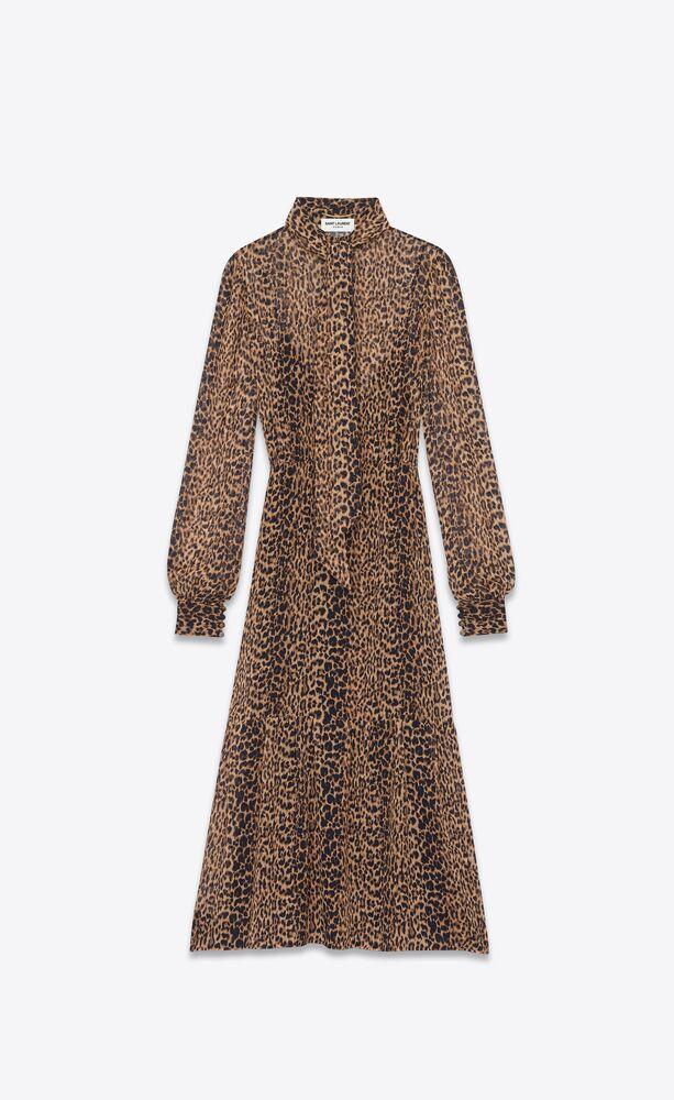 long lavallière-neck dress in leopard-print georgette
