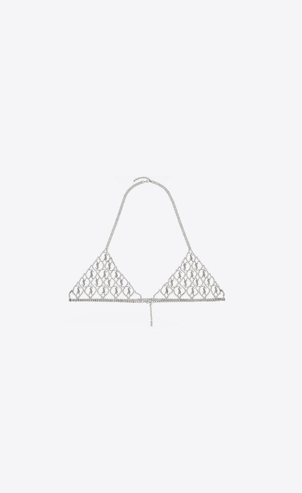 monogram bra in crystal and metal