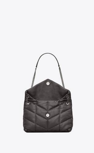 puffer small bag in quilted crinkled matte leather