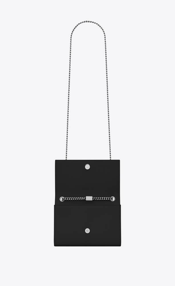 classic small kate chain bag in black grain de poudre textured leather