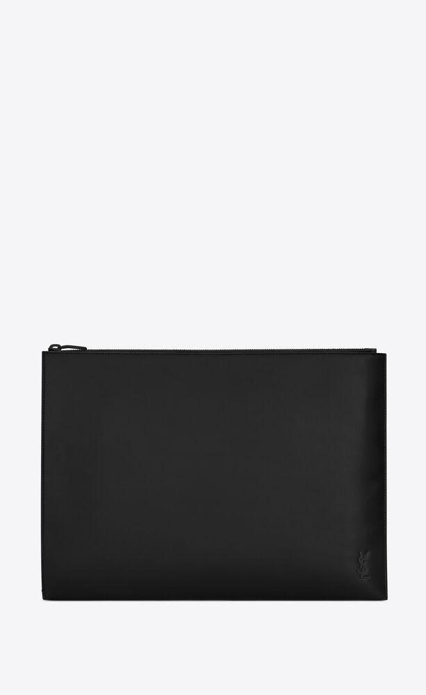 tiny monogram document holder in matte leather