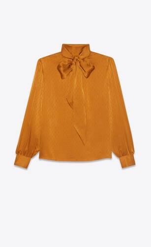 lavallière-neck blouse in monogram silk jacquard