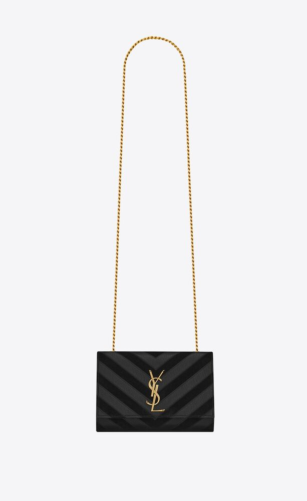 kate small chain bag in quilted leather and suede
