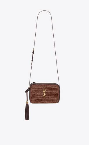 lou camera bag in raffia and leather