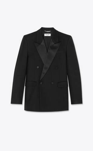 울 트윌 소재의 더블 브레스트 스퀘어 컷 롱 턱시도 재킷