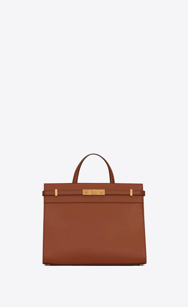 manhattan small shopping bag in box saint laurent leather