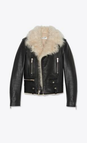 biker jacket in grained leather and shearling